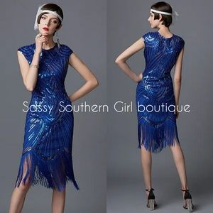 🆕⭐ Blue sequin Gatsby flapper dress